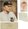 Autographs:Others, 1940's Ty Cobb & Rogers Hornsby Signed Autographs....