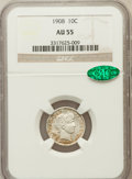 Barber Dimes: , 1908 10C AU55 NGC. CAC. NGC Census: (3/268). PCGS Population(14/337). Mintage: 10,600,545. Numismedia Wsl. Price for probl...