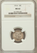Barber Dimes: , 1914 10C MS62 NGC. NGC Census: (66/597). PCGS Population (103/691).Mintage: 17,360,656. Numismedia Wsl. Price for problem ...