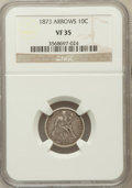 Seated Dimes: , 1873 10C Arrows VF35 NGC. NGC Census: (3/148). PCGS Population(5/186). Mintage: 2,378,500. Numismedia Wsl. Price for probl...