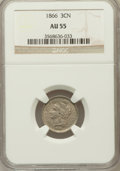 Three Cent Nickels: , 1866 3CN AU55 NGC. NGC Census: (11/624). PCGS Population (29/690).Mintage: 4,801,000. Numismedia Wsl. Price for problem fr...
