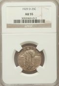 Standing Liberty Quarters: , 1929-D 25C AU55 NGC. NGC Census: (36/698). PCGS Population(73/986). Mintage: 1,358,000. Numismedia Wsl. Price for problem ...