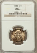 Washington Quarters: , 1935 25C MS64 NGC. NGC Census: (299/1224). PCGS Population(637/1741). Mintage: 32,484,000. Numismedia Wsl. Price for probl...