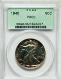 Proof Walking Liberty Half Dollars: , 1940 50C PR65 PCGS. PCGS Population (1032/1132). NGC Census:(612/1158). Mintage: 11,279. Numismedia Wsl. Price for problem...