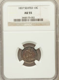 Seated Dimes: , 1837 10C No Stars, Large Date AU55 NGC. NGC Census: (36/285). PCGSPopulation (28/188). Mintage: 682,500. Numismedia Wsl. P...