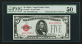 Fr. 1526* $5 1928A Legal Tender Note. PMG About Uncirculated 50