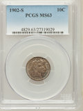Barber Dimes: , 1902-S 10C MS63 PCGS. PCGS Population (19/28). NGC Census: (13/22).Mintage: 2,070,000. Numismedia Wsl. Price for problem f...