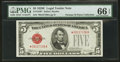 Fr. 1530* $5 1928E Legal Tender Note. PMG Gem Uncirculated 66 EPQ