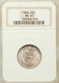 Seated Quarters: , 1858 25C MS65 NGC. NGC Census: (27/18). PCGS Population (33/12).Mintage: 7,368,000. Numismedia Wsl. Price for problem free...