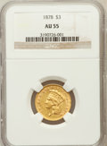 Three Dollar Gold Pieces: , 1878 $3 AU55 NGC. NGC Census: (430/4306). PCGS Population(577/4412). Mintage: 82,304. Numismedia Wsl. Price for problemfr...