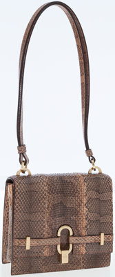 Gucci Python Small Shoulder Bag with Gold Hardware