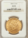Liberty Double Eagles: , 1884-CC $20 AU58 NGC. NGC Census: (449/287). PCGS Population(167/210). Mintage: 81,139. Numismedia Wsl. Price for problem ...
