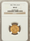 Liberty Quarter Eagles: , 1861 $2 1/2 New Reverse, Type Two MS62 NGC. NGC Census: (391/296).PCGS Population (204/285). Mintage: 1,283,878. Numismedi...