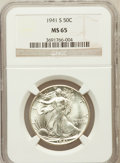 Walking Liberty Half Dollars: , 1941-S 50C MS65 NGC. NGC Census: (918/219). PCGS Population(2225/459). Mintage: 8,098,000. Numismedia Wsl. Price for probl...