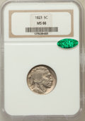 Buffalo Nickels: , 1923 5C MS66 NGC. CAC. NGC Census: (40/9). PCGS Population(134/10). Mintage: 35,715,000. Numismedia Wsl. Price for problem...
