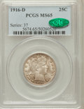 Barber Quarters: , 1916-D 25C MS65 PCGS. CAC. PCGS Population (324/110). NGC Census:(175/55). Mintage: 6,540,800. Numismedia Wsl. Price for p...