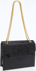 Luxury Accessories:Bags, Chanel Black Patent Leather Shoulder Bag with Gold Chain RopeStraps. ...