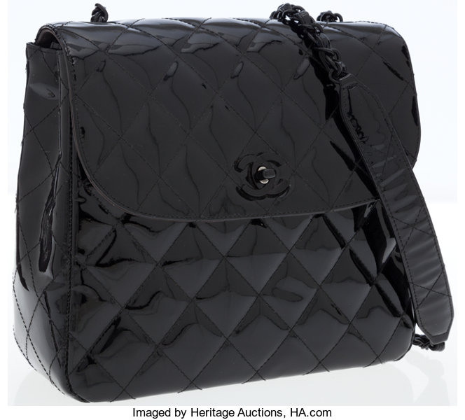 2291232e9045 Luxury Accessories:Bags, Chanel Black Quilted Patent Leather Flap Bag with  Black Hardware.