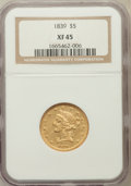 Liberty Half Eagles: , 1839 $5 XF45 NGC. NGC Census: (29/148). PCGS Population (27/67).Mintage: 118,143. Numismedia Wsl. Price for problem free N...