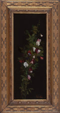 Fine Art - Painting, American:Antique  (Pre 1900), WALTER GAY (American, 1856-1937). Sweet Peas. Oil on blacklacquered wooden panel. 17-1/4 x 6-1/2 inches (43.8 x 16.5 cm...