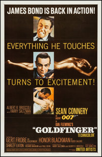 "Goldfinger (United Artists, 1964). One Sheet (27"" X 41"") Glossy Style. James Bond"