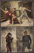 """Movie Posters:Swashbuckler, The Mark of Zorro (United Artists, 1920). Trimmed Lobby Cards (2) (10.25"""" X 13.25""""). Swashbuckler.. ... (Total: 2 Items)"""