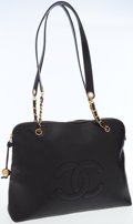 Luxury Accessories:Bags, Chanel Black Caviar Leather Large CC Tote Bag . ...