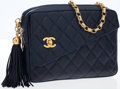 Luxury Accessories:Bags, Chanel Navy Quilted Lambskin Leather Camera Bag with Gold Turnlockand Tassel. ...