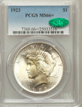 Peace Dollars: , 1923 $1 MS66+ PCGS. CAC. PCGS Population (1665/46). NGC Census:(2889/89). Mintage: 30,800,000. Numismedia Wsl. Price for p...