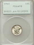 Mercury Dimes: , 1940 10C MS64 Full Bands PCGS. PCGS Population (379/2667). NGCCensus: (54/1228). Mintage: 65,361,828. Numismedia Wsl. Pric...