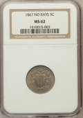 Shield Nickels: , 1867 5C No Rays MS62 NGC. NGC Census: (78/526). PCGS Population(89/473). Mintage: 28,800,000. Numismedia Wsl. Price for pr...