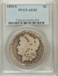 Morgan Dollars: , 1893-S $1 AG3 PCGS. PCGS Population (83/4747). NGC Census:(0/2372). Mintage: 100,000. Numismedia Wsl. Price for problem fr...