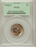Buffalo Nickels: , 1936-D 5C MS65 PCGS. PCGS Population (1760/771). NGC Census:(946/672). Mintage: 24,814,000. Numismedia Wsl. Price for prob...