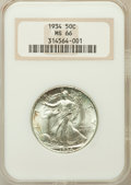 Walking Liberty Half Dollars: , 1934 50C MS66 NGC. NGC Census: (290/103). PCGS Population(447/134). Mintage: 6,964,000. Numismedia Wsl. Price for problem...