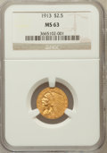 Indian Quarter Eagles: , 1913 $2 1/2 MS63 NGC. NGC Census: (1634/1100). PCGS Population(1150/888). Mintage: 722,000. Numismedia Wsl. Price for prob...