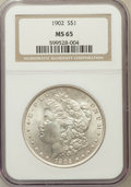 Morgan Dollars: , 1902 $1 MS65 NGC. NGC Census: (883/178). PCGS Population(1452/468). Mintage: 7,994,777. Numismedia Wsl. Price for problem...