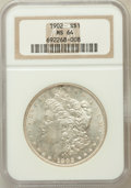 Morgan Dollars: , 1902 $1 MS64 NGC. NGC Census: (2390/1061). PCGS Population(2604/1920). Mintage: 7,994,777. Numismedia Wsl. Price for probl...