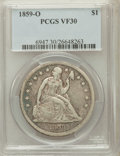 Seated Dollars: , 1859-O $1 VF30 PCGS. PCGS Population (26/735). NGC Census: (7/493).Mintage: 360,000. Numismedia Wsl. Price for problem fre...