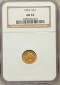 Gold Dollars: , 1855 G$1 AU55 NGC. NGC Census: (904/3505). PCGS Population(531/1694). Mintage: 758,269. Numismedia Wsl. Price for problem ...