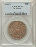 Seated Half Dollars: , 1866-S 50C No Motto XF40 PCGS. PCGS Population (15/24). NGC Census:(5/13). Mintage: 60,000. Numismedia Wsl. Price for prob...