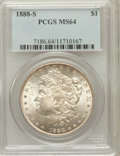 Morgan Dollars: , 1888-S $1 MS64 PCGS. PCGS Population (1414/291). NGC Census:(878/112). Mintage: 657,000. Numismedia Wsl. Price for problem...