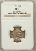 Buffalo Nickels: , 1921-S 5C XF45 NGC. NGC Census: (35/309). PCGS Population (58/473).Mintage: 1,557,000. Numismedia Wsl. Price for problem f...