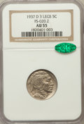 Buffalo Nickels, 1937-D 5C Three-Legged AU55 NGC. CAC. FS-020.2. NGC Census:(661/2872). PCGS Population (856/1670). Mintage: 17,826,000. Nu...