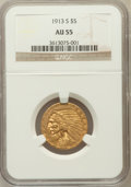 Indian Half Eagles: , 1913-S $5 AU55 NGC. NGC Census: (366/1028). PCGS Population(169/484). Mintage: 408,000. Numismedia Wsl. Price for problem ...