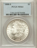 Morgan Dollars: , 1888-S $1 MS64 PCGS. PCGS Population (1413/291). NGC Census:(877/112). Mintage: 657,000. Numismedia Wsl. Price for problem...
