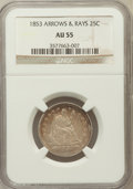 Seated Quarters: , 1853 25C Arrows and Rays AU55 NGC. NGC Census: (93/542). PCGSPopulation (104/429). Mintage: 15,210,020. Numismedia Wsl. Pr...