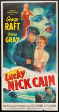 "Movie Posters:Crime, Lucky Nick Cain (20th Century Fox, 1951). Three Sheet (41"" X79.5""). Crime.. ..."
