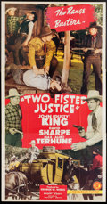 """Movie Posters:Western, Two Fisted Justice (Monogram, 1943). Three Sheet (41"""" X 78""""). Western.. ..."""