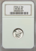 Mercury Dimes: , 1938-D 10C MS66 Full Bands NGC. NGC Census: (612/168). PCGSPopulation (1076/278). Mintage: 5,537,000. Numismedia Wsl. Pric...