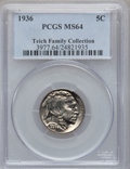 Buffalo Nickels: , 1936 5C MS64 PCGS. EX: Teich Family Collection. PCGS Population(912/3382). NGC Census: (392/2038). Mintage: 119,001,424. N...